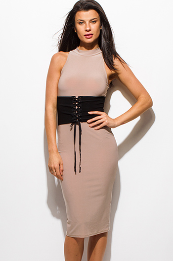 $15 - Cute cheap draped open back dress - mocha beige mock neck sleeveless corset back slit bodycon fitted sexy club midi dress