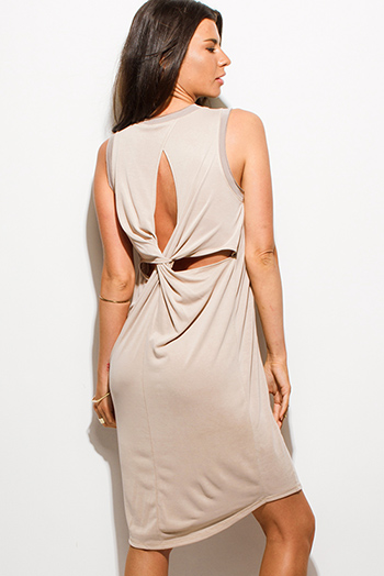 $15 - Cute cheap gray bodycon midi dress - mocha beige rayon jersey cut out knotted cocktail sexy party shift midi dress