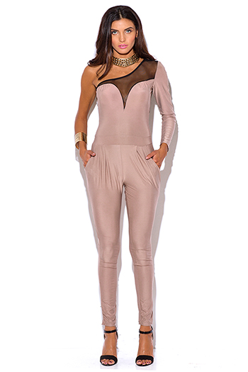 $7 - Cute cheap mesh sheer party catsuit - nude beige mesh inset one shoulder evening party fitted harem sexy clubbing catsuit jumpsuit