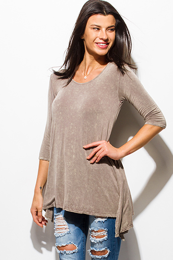 $15 - Cute cheap satin asymmetrical blouse - mocha brown acid wash quarter sleeve asymmetrical hem side slit knit top
