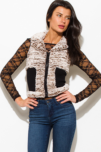 $10 - Cute cheap black mandarin collar long sleeve zip up fitted jacket crop top - mocha brown black color block zip up faux fur banded fitted sexy clubbing vest
