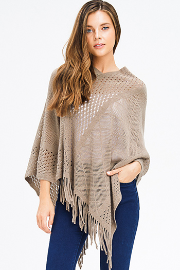 $15 - Cute cheap cotton sweater - mocha brown crochet knit asymmetrical fringe trim shawl poncho sweater knit jacket