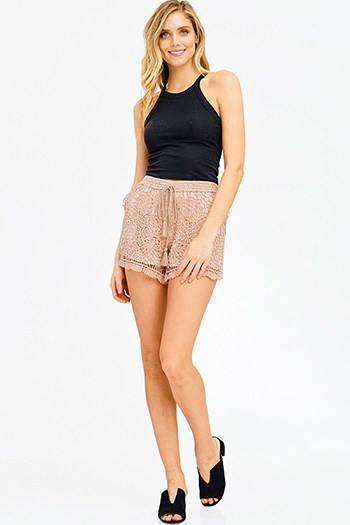 $10 - Cute cheap boho crochet romper - mocha brown crochet knit tassel tie resort boho lounge shorts