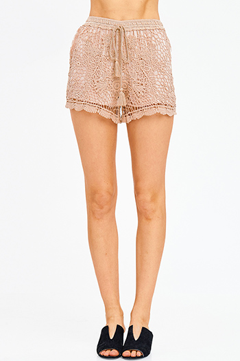 $9 - Cute cheap sexy party shorts - mocha brown crochet knit tassel tie resort boho lounge shorts