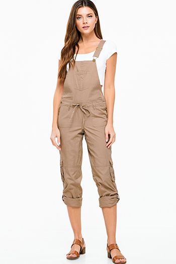 $20 - Cute cheap Mocha brown drawstring tie front backless pocketed cropped capri cargo overalls jumpsuit