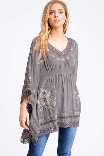 $20 - Cute cheap mocha brown drawstring tie front backless pocketed crop capri cargo overalls - Mocha brown embroidered crochet lace hem long butterfly sleeve boho kimono top