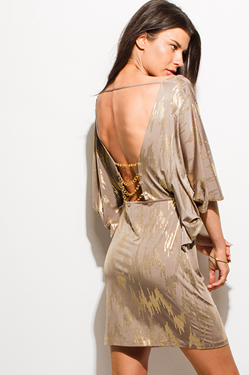 $15 - Cute cheap ruched wrap sexy club dress - mocha brown gold metallic print cowl neck backless chain embellished club mini dress