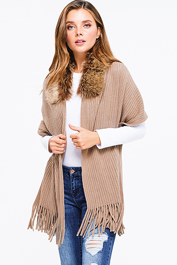 $20 - Cute cheap print fringe cardigan - Mocha brown ribbed sweater knit fringe trim faux fur collar shawl cardigan poncho top