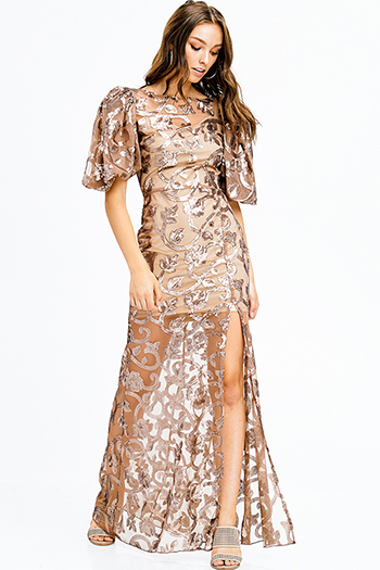 $25 - Cute cheap bejeweled midi dress - mocha brown sequined sheer crochet lace bubble sleeve side slit sheath evening gown sexy party dress