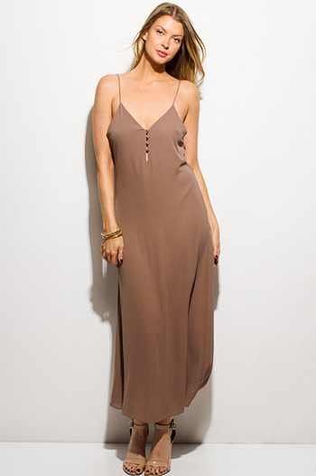 $15 - Cute cheap ruffle evening mini dress - mocha brown spaghetti strap button up evening boho maxi sun dress