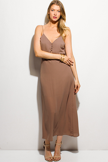 $15 - Cute cheap floral slit maxi dress - mocha brown spaghetti strap button up evening boho maxi sun dress
