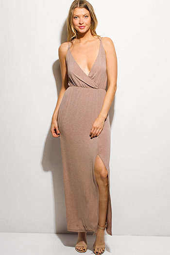 $15 - Cute cheap backless slit evening maxi dress - mocha brown surplice faux wrap spaghetti strap double side slit evenin maxi sun dress