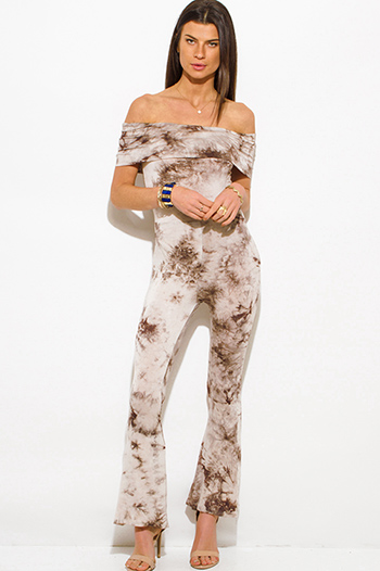 $20 - Cute cheap white stripe off shoulder layered boho crop top - mocha brown tie dye boho off shoulder flare leg sexy clubbing catsuit jumpsuit
