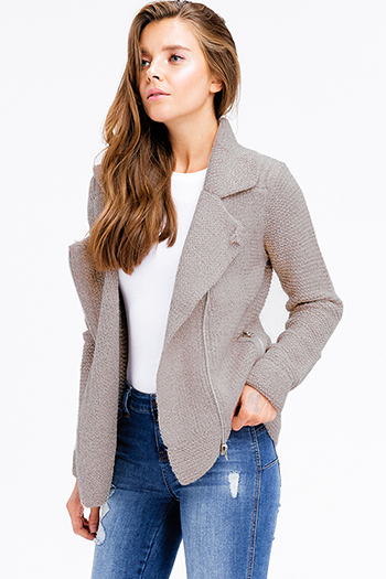 $30 - Cute cheap fitted sexy club sweater - mocha brown two tone knit long sleeve asymmetrical zip up pocketed moto sweater jacket