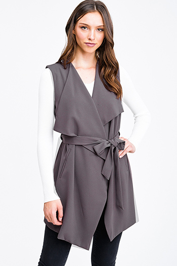 $25 - Cute cheap stone gray faux suede long sleeve waterfall draped open front tie waisted duster cardigan - Mocha brown waterfall draped belted pocketed vest top