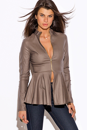 $20 - Cute cheap brown faux leather ribbed bomber moto jacket - mocha brown zip up high neck peplum blazer jacket
