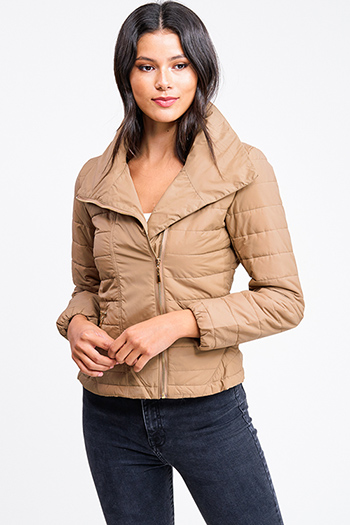 $35 - Cute cheap white asymmetrical hem quarter sleeve zip up fitted blazer jacket top - Mocha khaki brown quilted high neck asymmetrical zip up puffer bomber jacket