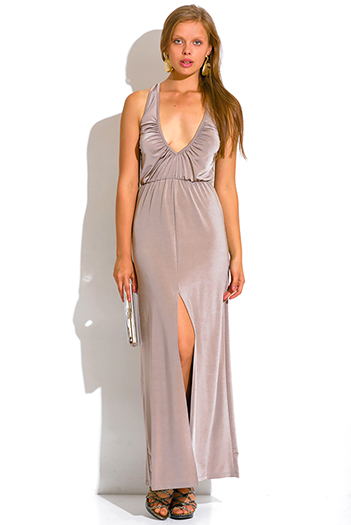 $15 - Cute cheap bejeweled evening sun dress - mocha beige ruched deep v neck high slit formal evening maxi dress