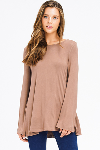 $15 - Cute cheap peplum top - mocha tan brown long bell sleeve laceup caged back boho top