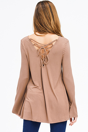 $15 - Cute cheap blue stripe off shoulder long sleeve button up boho shirt blouse top - mocha tan brown long bell sleeve laceup caged back boho top