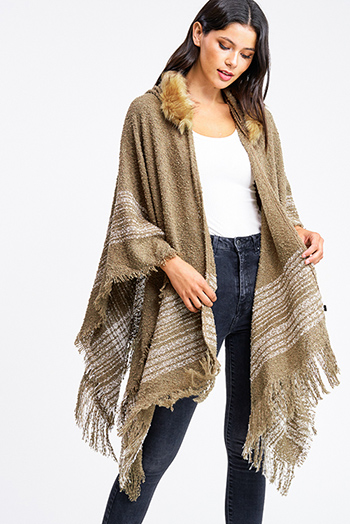 $30 - Cute cheap taupe beige long sleeve oversized hooded boho textured slub sweater top - Mocha taupe brown sweater knit fringe trim faux fur lined hooded boho poncho top