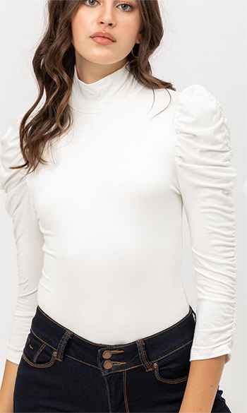 $22.50 - Cute cheap clothes - mock neck ruched bodysuit
