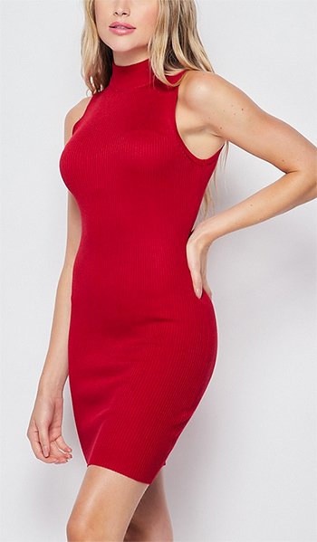 $19.50 - Cute cheap dress sale - mock neck sleeveless bodycon dress