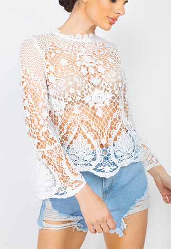 $23.50 - Cute cheap mock sheer floral lace top