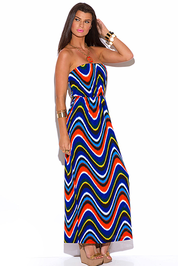 $10 - Cute cheap print strapless dress - royal blue abstract print strapless maxi sun dress