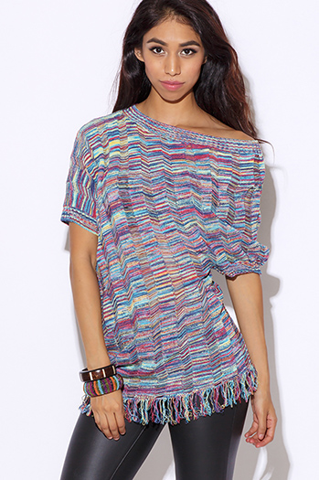 $10 - Cute cheap boho fringe jumpsuit - multi color knit off shoulder dolman sleeve fringe trim boho sweater tunic top