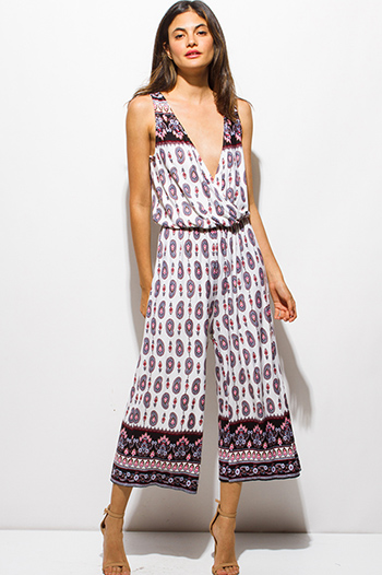 $15 - Cute cheap jumpsuit women.html - multicolor ethnic paisley print surplice sleeveless boho resort wide leg cropped jumpsuit