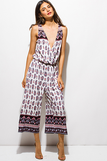 $12 - Cute cheap ruched jumpsuit - multicolor ethnic paisley print surplice sleeveless boho resort wide leg cropped jumpsuit