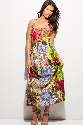 $15 - Cute cheap yellow black multicolor abstract regal print strapless evening sexy party maxi dress - multicolor multi print smocked spaghetti strap a line boho maxi sun dress