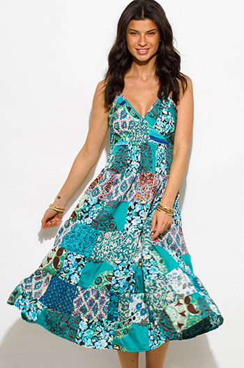 $15 - Cute cheap crepe midi dress - multicolor multi print smocked spaghetti strap a line boho midi sun dress