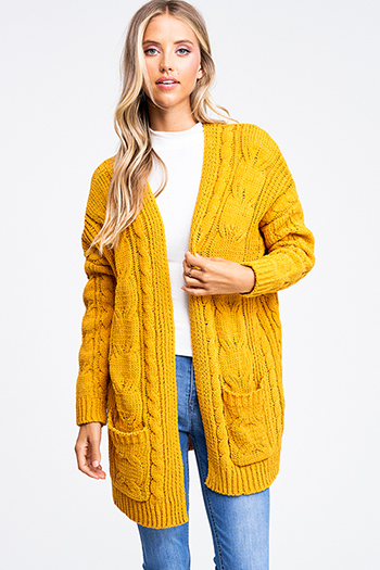 $30 - Cute cheap mustard yellow ruffle tiered apron front button trim wide leg boho culotte jumpsuit - Mustard amber yellow chenille chunky cable knit open front pocketed boho sweater cardigan