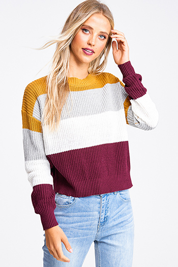 $20 - Cute cheap black ribbed knit lettuce hem long sleeve fitted mock neck basic top - Mustard burgundy color block long sleeve boho cropped sweater top