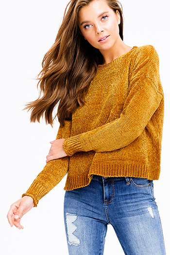 $15 - Cute cheap mustard green long sleeve scoop neck crochet sweater knit fringe hem boho top - mustard golden yellow chenille fuzzy knit long dolman sleeve boho cropped sweater top
