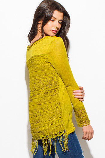 $15 - Cute cheap gauze cotton crochet top - mustard green long sleeve scoop neck crochet sweater knit fringe hem boho top
