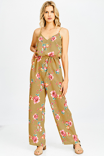 $15 - Cute cheap black v neck faux wrap criss cross back fitted cocktail sexy party mini dress - mustard tan floral print tie waist spaghetti strap cut out back wide leg boho jumpsuit