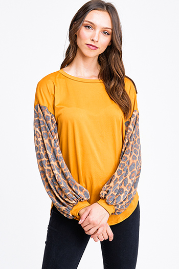 $12.00 - Cute cheap chiffon top - Mustard yellow animal print long bubble sleeve round neck boho top