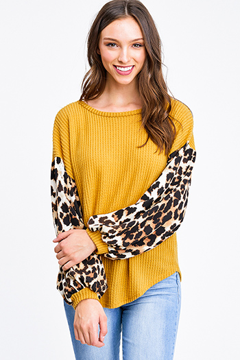 $25 - Cute cheap boho crochet long sleeve top - Mustard yellow animal print long sleeve round neck boho fuzzy thermal top