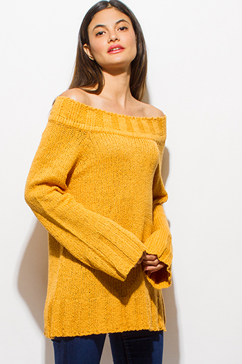 $20 - Cute cheap mustard yellow chenille off shoulder long bell sleeve boho sweater knit top