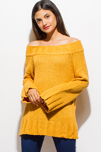 $20 - Cute cheap brown animal zebra print long dolman sleeve boat neck knit top - mustard yellow chenille off shoulder long bell sleeve boho sweater knit top