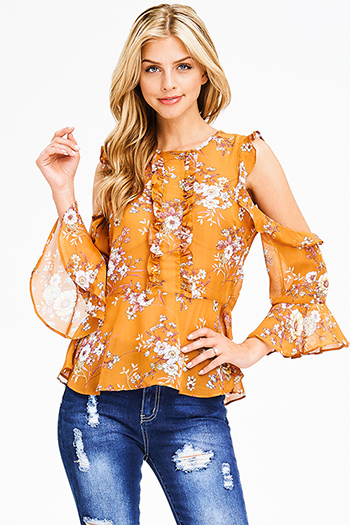 $15 - Cute cheap print open back jumpsuit - mustard yellow chiffon floral print cold shoulder long bell sleeve boho blouse top