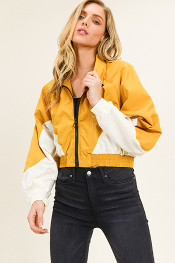 $20 - Cute cheap white asymmetrical hem quarter sleeve zip up fitted blazer jacket top - Mustard yellow color block dolman sleeve cropped zip up boho windbreaker jacket
