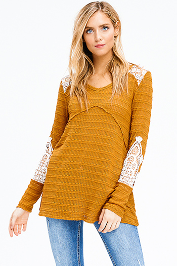 $15 - Cute cheap white and blue tie dye print long dolman sleeve button up boho blouse top - mustard yellow crochet applique long sleeve boho knit top