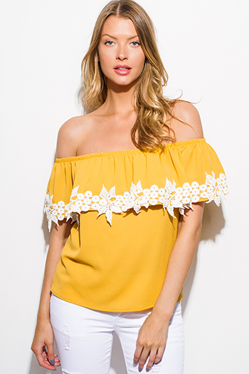 $15 - Cute cheap navy blue sheer see through lace off shoulder boho blouse top - mustard yellow crochet lace trim ruffle tiered off shoulder boho blouse top