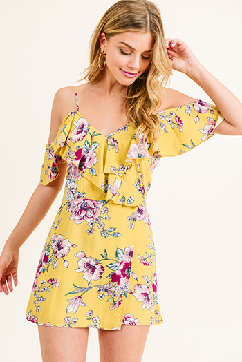$15 - Cute cheap gray acid washed denim print sleeveless button up tie waisted slit maxi sun dress - Mustard yellow floral print cold shoulder ruffled surplice zip up boho romper jumpsuit