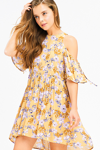 $20 - Cute cheap ribbed ruffle boho dress - Mustard yellow floral print cold shoulder short sleeve keyhole cut out back boho mini sun dress