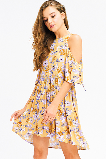 $15 - Cute cheap print crochet mini dress - Mustard yellow floral print cold shoulder short sleeve keyhole cut out back boho mini sun dress